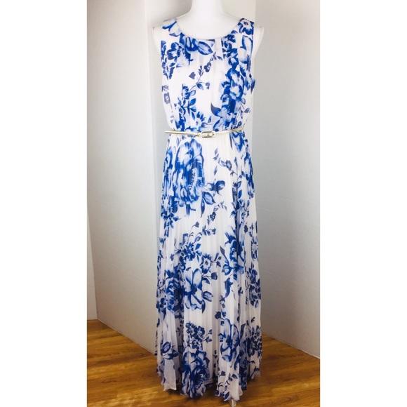 3af42275cfb Eliza J Chiffon Blue Floral Pleated Maxi Dress